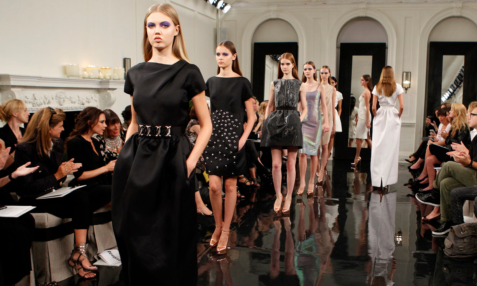 Models on the catwalk for the Victoria Beckham spring 2011 collection..jpg
