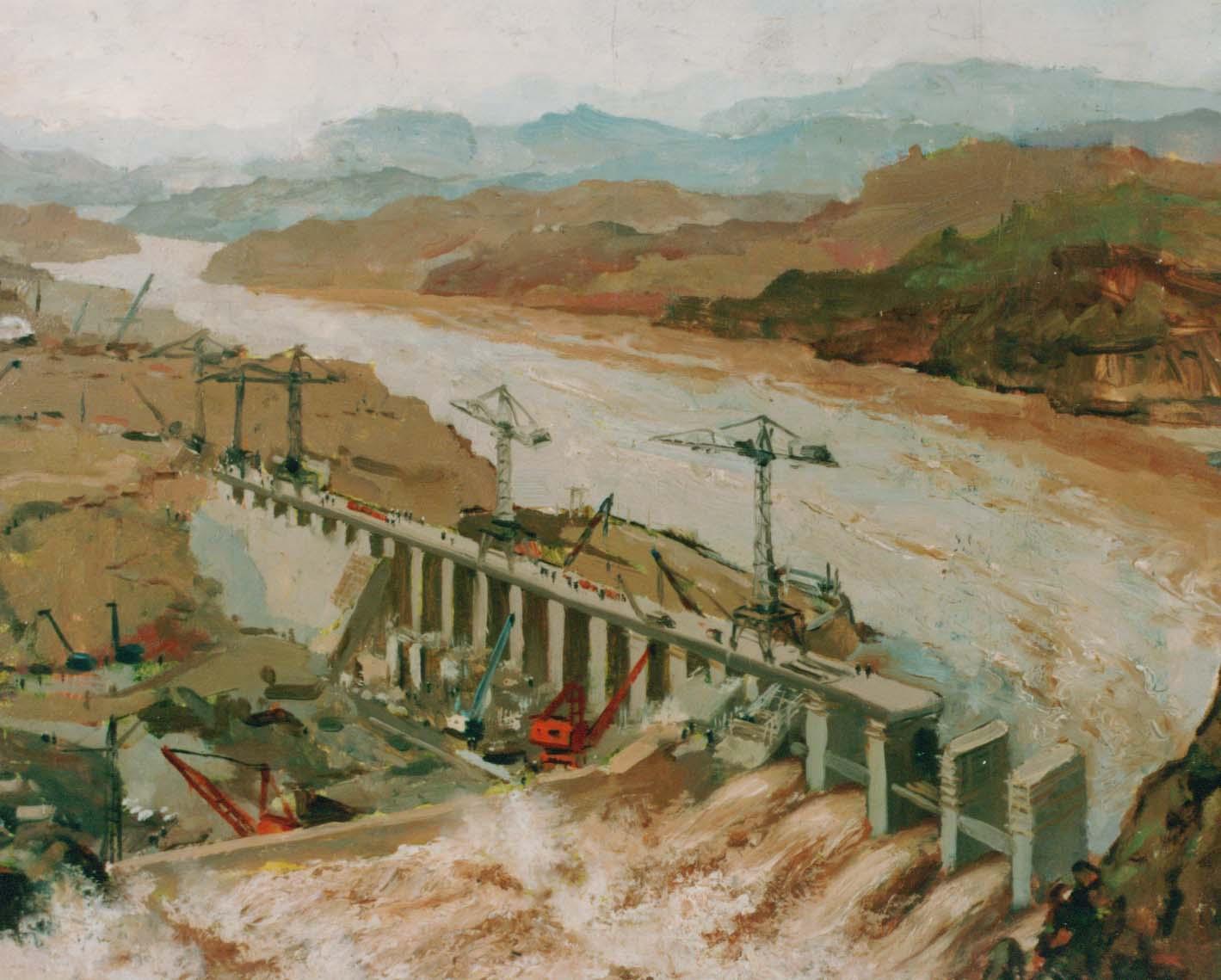 3 吴作人作 黄河三门峡大坝(之二) 油画 40×53 1959-1960年.jpg